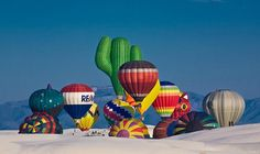 Hot air balloons at White Sands National Monument
