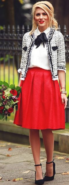Black Ankle Strap Pumps Red Skirt White Shirt Gray Tweed Jacket Fall Inspo