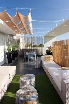 Retractable shade- love this outdoor area