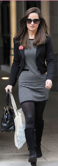 Pippa Middleton: Dress – Cashmere by Tania    Purse – Modalu    Shoes – Aquatalia