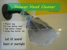 Shower Head Cleaner- baking soda, vinegar, plastic bag, tie
