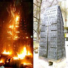 "Nina Hole, Denmark, Fire Sculpture ""A House for Everyone"" Kecskemet, Hungary."