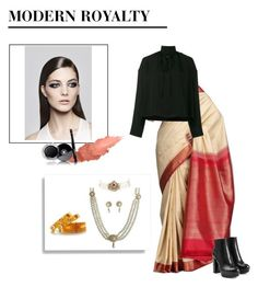 """""""SAREE"""" by aroraaakriti on Polyvore featuring Hogan, Balenciaga, Maybelline and Chanel"""