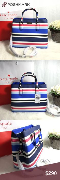 "KATE SPADE LAUREL WAY EVANGELIE HANDBAG W/ STRAP 100% Authentic Kate Spade ♠️Buy with confidence!MSRP: $359.00Style: WKRU4391Features:Dual leather handles with a drop of approx. 3.75""; Optional, adjustable strap with maximum drop of approximately 17""Open top with two compartments each with magnetic tab closures • Interior features custom fabric lining, 1 zip pocket, 2 slip pockets Approx. dimensions: 11.5 in (L) x 9.25 in (H) x 5.25 in (W) Central zip compartment with top zip closure Please…"