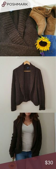 Sweater Brown long sleeve sweater with light brown flecks in knit material Chaps Sweaters