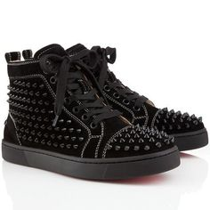 7a956ffebf90 Christian Louboutin Louis Spikes High Top Sneakers Black Basket Louboutin