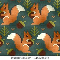 Forest background with cute animals. Knitting Charts, Hand Knitting, Knitting Patterns, Fabric Patterns, Beading Patterns, Fabric Structure, Fair Isle Knitting, Stencil Designs, Stock Foto