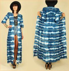 ViNtAgE 70's Indigo Tie Dye Cotton Hand Dyed Lace Maxi Dress Jacket