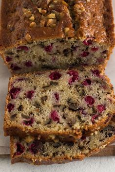 A little tangy, a little crunchy, and totally delicious, this cranberry walnut bread is an easy sweet bread recipe that's perfect for the holidays! Holiday Bread, Christmas Bread, Holiday Baking, Christmas Dishes, Christmas Desserts, Cinnamon Pastry Recipe, Cinnamon Roll Bread, Breakfast Bake, Perfect Breakfast
