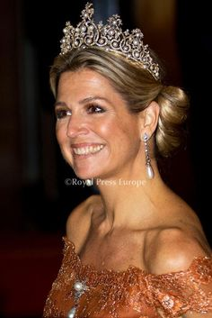 TIARA ALERT: Queen Maxima of The Netherlands wore the Wurttemberg Ornate Pearl Tiara to the Corps Diplomatique Dinner.http://tiara-mania.blogspot.com/2012/02/wurttemberg-ornate-pearl-tiara.htmlPhoto: Albert Nieboer