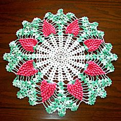 Crocheted Pink Grapes Vintage Doily 17 inches Round. Click on the image for more information.