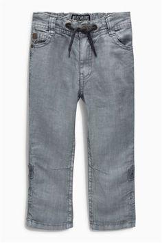 Grey Linen Roll Leg Trousers (3-16yrs) Code: 118-109 Price: £14