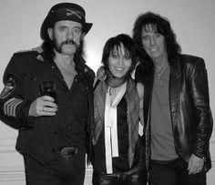 Lemmy Kilmister, left; Joan Jett, center; Alice Cooper, right.