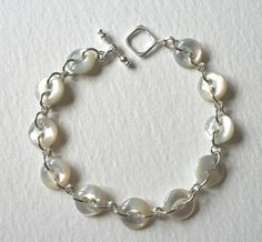 Sterling Silver Antique Mother Of Pearl Button Bracelet