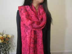 Women Chiffon Scarf Pink And Black Long Fabric by HumaCouture, $35.00