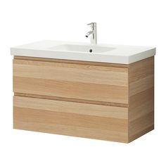IKEA - GODMORGON / ODENSVIK, Waschbeckenschrank/2 Schubl., Eicheneffekt weiß lasiert, , Inklusive 10 Jahre Garantie. Mehr darüber in der Garantiebroschüre.</t><t>Leicht laufende, sanft schließende Schubladen mit Ausziehsperre.</t><t>Die Fächergröße ist durch Versetzen der Trennstege leicht zu verändern.</t><t>Voll ausziehbar für leichten Zugriff und guten Überblick über den Inhalt.</t><t>Schubladen aus massivem Holz, Böden aus kratzfestem Melamin.</t><t>Der beigepackte Siphon kann problemlos…