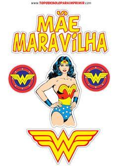 Wonder Woman Party, Pj Mask, Buttercream Cake, Princesas Disney, Cake Toppers, Silhouette, Superhero, Birthday, Logos