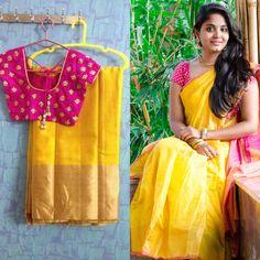 Blouse Pattu Saree Blouse Designs, Saree Blouse Patterns, Saree Color Combinations, Indian Silk Sarees, Saree Models, Simple Sarees, Elegant Saree, Fancy Sarees, Saree Dress