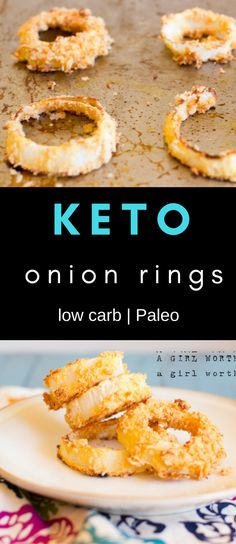 Crispy on the outside and never greasy these low carb keto onion rings are a healthy treat! Made with pork rinds and coconut flour, everyone can indulge.  via @bejelly