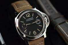 Panerai PAM 590 new for 2014 - the in-house Calibre P.5000 has a substantial 8-day power reserve (192 hours). It's in no doubt inspired by Angelus-made 8-day watches of the past, even down to the size (35.7mm/15.75 lignes compared to the Angelus at 16 lignes). Simple and beautiful.