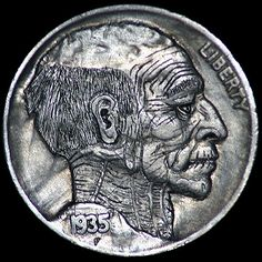 Jay DeBoer Hobo Nickel - 1935 Old Man (#91) Hobo Nickel, Antique Coins, Jewelry Collection, Buffalo, Jay, Carving, Antiques, Antiquities, Antique