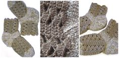 Hand knitted and crocheted women socks in beige colors. Size (European) 37-39. Materials used: 50% wool and 50 % acrylic.