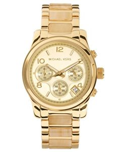 Aumentar Reloj con cronómetro color crema y dorado de Michael Kors  #michaelkors #watch