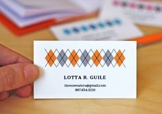 Printable argyle business cards in orange, pink, or blue. Simple Business Cards, Business Card Design, Printable Designs, Free Printables, Free Printable Business Cards, Letterpress Business Cards, Calling Cards, Printable Paper, Card Tags