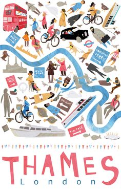 Pippa Curnick Thames map illustration competition entry