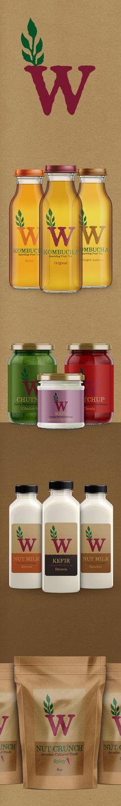 Logo, branding and packaging design for Wild Ferments.