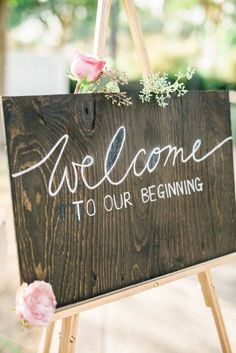 rustic wedding sign wedding ceremony idea - Deer Pearl Flowers