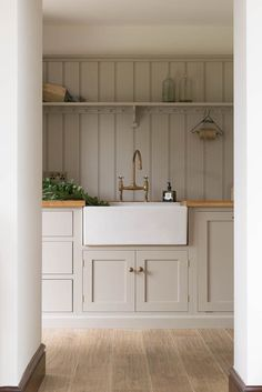 modern farmhouse kitchen, laundry room, or mudroom with light gray taupe cabinets and farmhouse sink Kitchen Interior, New Kitchen, Kitchen Decor, Kitchen Ideas, Rental Kitchen, Kitchen Grey, Shaker Kitchen, Awesome Kitchen, Beautiful Kitchen