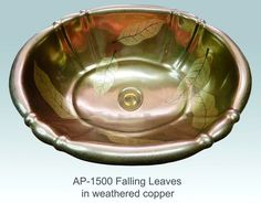Falling Leaves Design, Cambridge Sink - The Falling Leaves Design w/Weathered Copper on Cambridge Sink is hand-painted to order. Other sink shapes available. Made in USA.