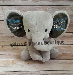 Personalized humphrey the elephant plush birth weight dream big cubbies personalized stuffed animal birth announcement personalized baby gift valentines day gift baby shower gift negle Images