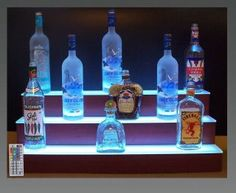 glass bar shelves lighted | 32 LED Lighted Three Tier Back Bar Liquor Bottle Shelf Display Bars
