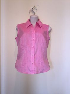 Ladies Investment Brand Pink Sleeveless Top Button Blouse Size S/ M #Investment #Blouse #Career