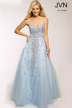 Jovani JVN24738 Strapless Multicolored Crystal Beads Tulle ...