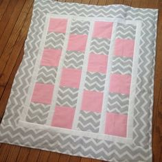 Baby Girl Quilt in Pink & Gray Chevron by MeresCrafts on Etsy, $50.00