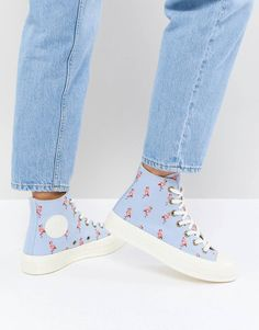cb2939275f4d97 Converse Chuck Taylor All Star  70 Hi Sneakers In Blue Embroidered Flamingos