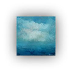 Blue and White Abstract Landscape- Small 12 x 12 Ocean Sky and Clouds Oil Painting- Original Palette Knife Art on Canvas