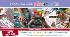 """our NEW placemats are 25% off with the promo """"PLACEMATS25"""" for a limited time only!"""