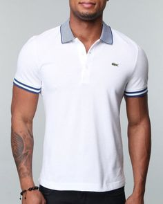 Shops Indiaviolet - Buy From The Best: Lacoste Men S/s Pique Contrast Collar Polo - Shirts,$98.00