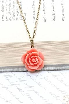 Coral Rose Necklace Single Rose Pendant Romantic Jewelry Floral Jewellery Bridesmaids Gift Spring Wedding Flower Pendant Botanical Garden - My Style - Garden Style - Bridal Accessories, Jewelry Accessories, Jewelry Design, Garden Accessories, Coral Jewelry, Cute Jewelry, Silver Jewelry, Flower Jewelry, Silver Rings