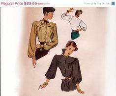 SALE Vintage 40s Sewing Pattern - Bishop Sleeve Blouse, Front Gathers & Round Yoke, Unusual Construction - 1946 McCall 6716, Bust 30, Uncut