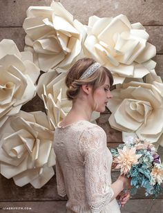 Wedding Backdrop with paper flowers by Lia Griffith