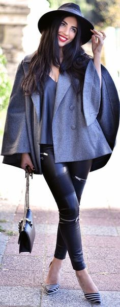 Gray On Black Fall Street Style Inspo women fashion outfit clothing stylish apparel @roressclothes closet ideas