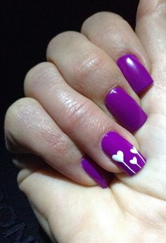 Purple w/White Hearts Nails ❤