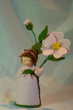 The little Girl is made of 100 % wool-felt, fairy tale-wool and tricot material.  The doll is approx. 13,5 centimeters high  The filling is