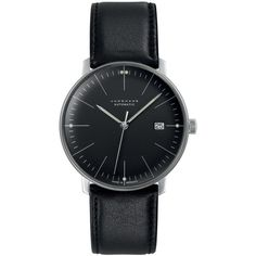 Junghans Matte Black Max Bill Automatic Watch ($1,035) ❤ liked on Polyvore featuring men's fashion, men's jewelry, men's watches, watches, accessories, jewelry, bracelets, mens black face watches, mens waterproof watches and mens stainless steel watches
