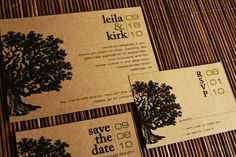 mixes rustic tree with modern font. love it!